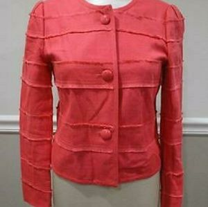J. Crew Coral/Orange Cropped Fray Jacket